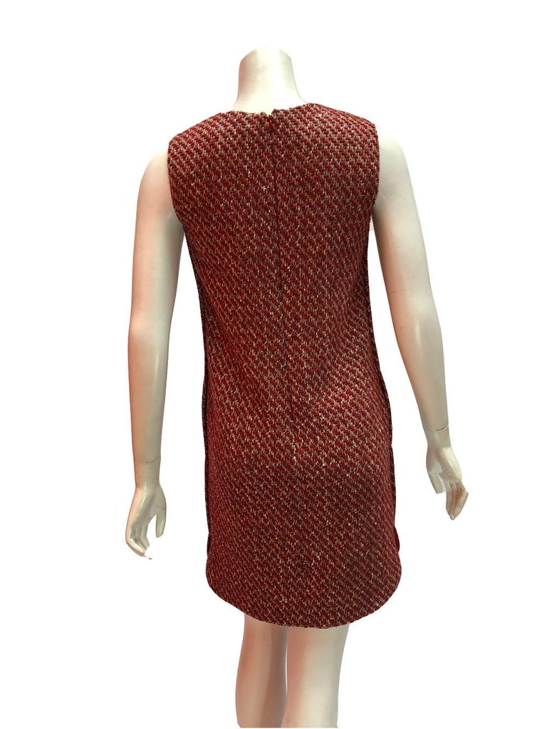 Brown Loro Piana Red Tweed Shift Dress For Sale