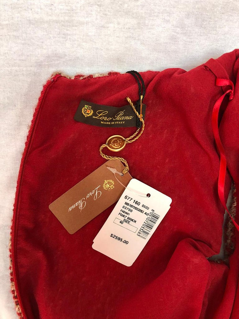 Loro Piana Red Tweed Shift Dress In New Condition For Sale In Los Angeles, CA