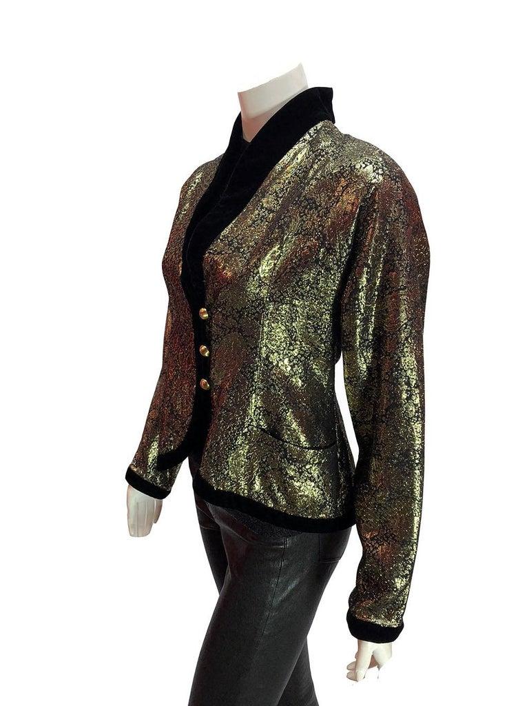 Lanvin Vintage Gold Brocade Black Velvet Smoking Jacket Lanvin vintage gold brocade smoking jacket with black velvet collar and trim, gold buttons, and totally 80's shoulder pads. Size 44.   Est. Retail: $1,600+