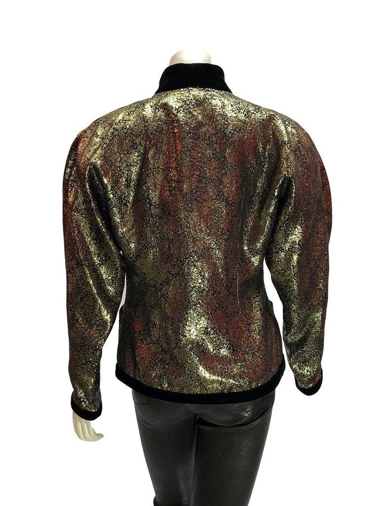 Lanvin Vintage Gold Brocade Black Velvet Smoking Jacket In Good Condition For Sale In Los Angeles, CA