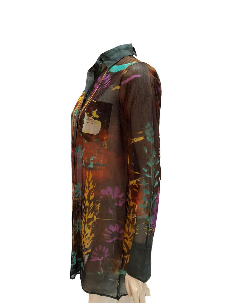 Valentino sheer button down with abstract water color print. Beautiful fall colors. Size 44.