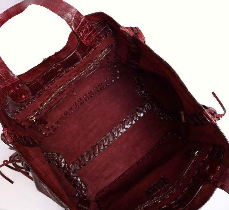 Brown Valentino C-Rockee Crocodile Tote Bag  For Sale