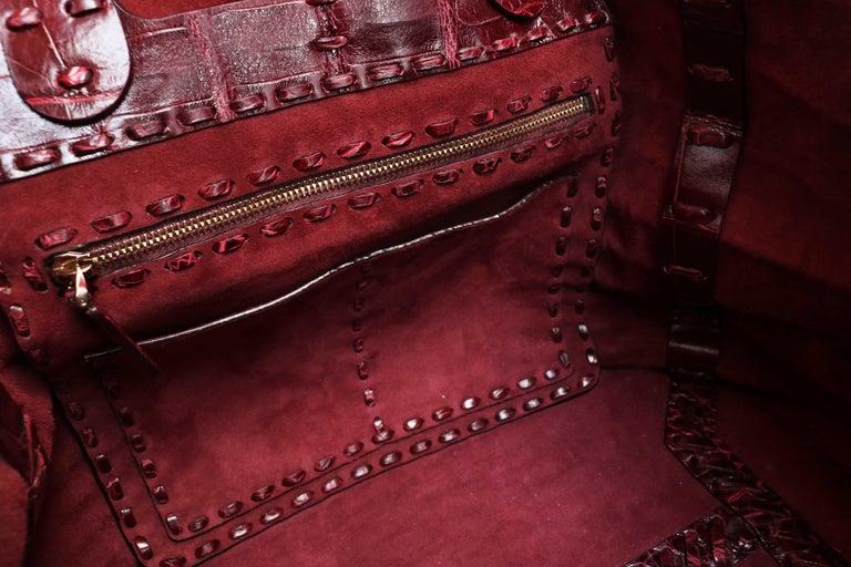 Valentino C-Rockee Crocodile Tote Bag  In Excellent Condition For Sale In Los Angeles, CA