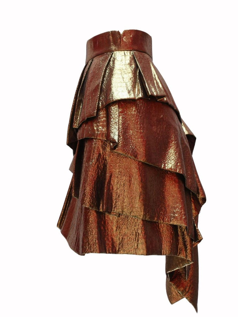 Brown Alexandre Vauthier Gold Layered Skirt For Sale