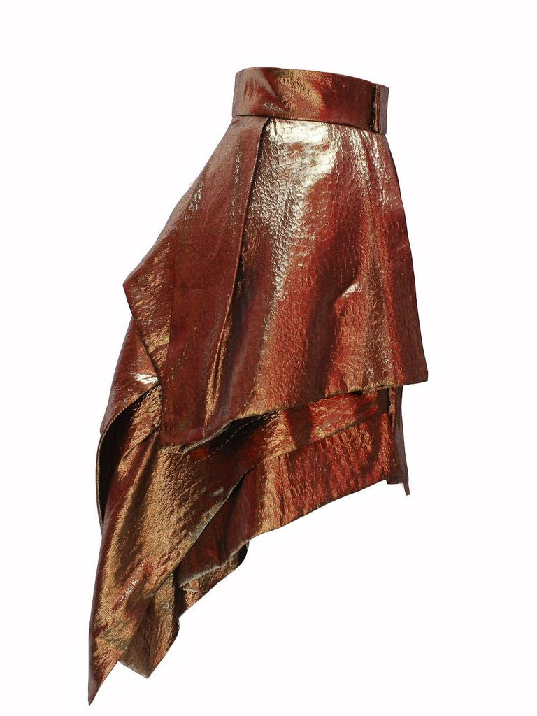 Alexandre Vauthier Gold Layered Skirt In Excellent Condition For Sale In Los Angeles, CA
