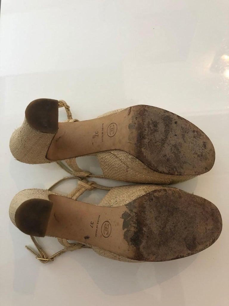 Brown Chanel Tan Raffia Patent Leather For Sale