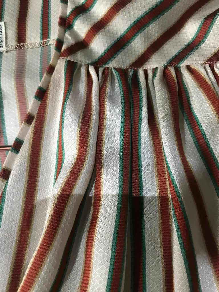 Women's Hermes Vintage Striped Silk Blouse For Sale