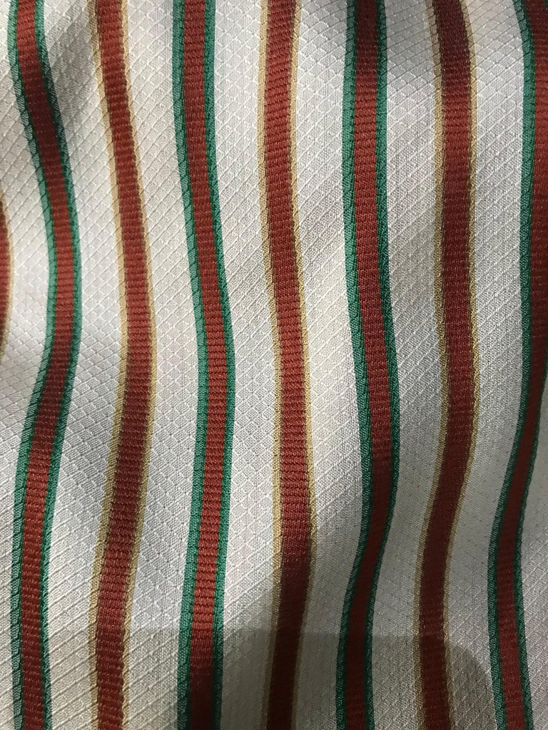 Hermes Vintage Striped Silk Blouse In Good Condition For Sale In Los Angeles, CA