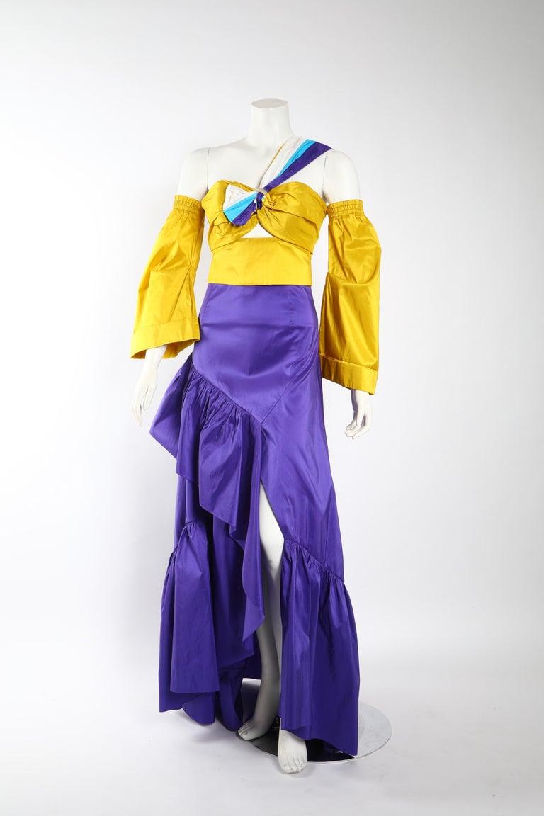 Purple Peter Pilotto Taffeta Top with Ballroom Skirt  For Sale