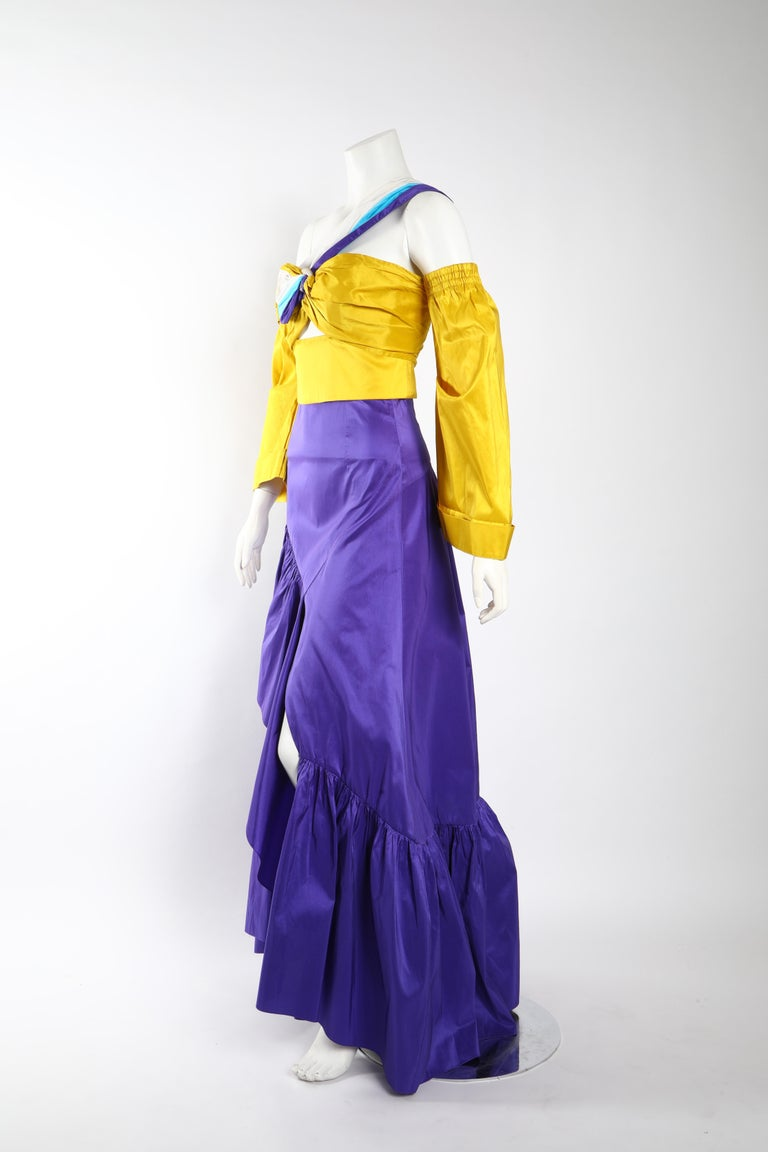 Peter Pilotto Taffeta Top with Ballroom Skirt  In Excellent Condition For Sale In Los Angeles, CA