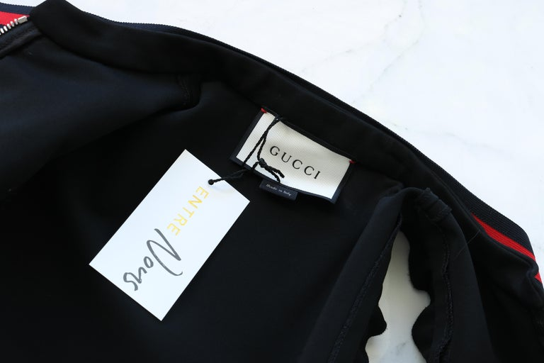 Black Gucci Jersey dress with Web trim For Sale