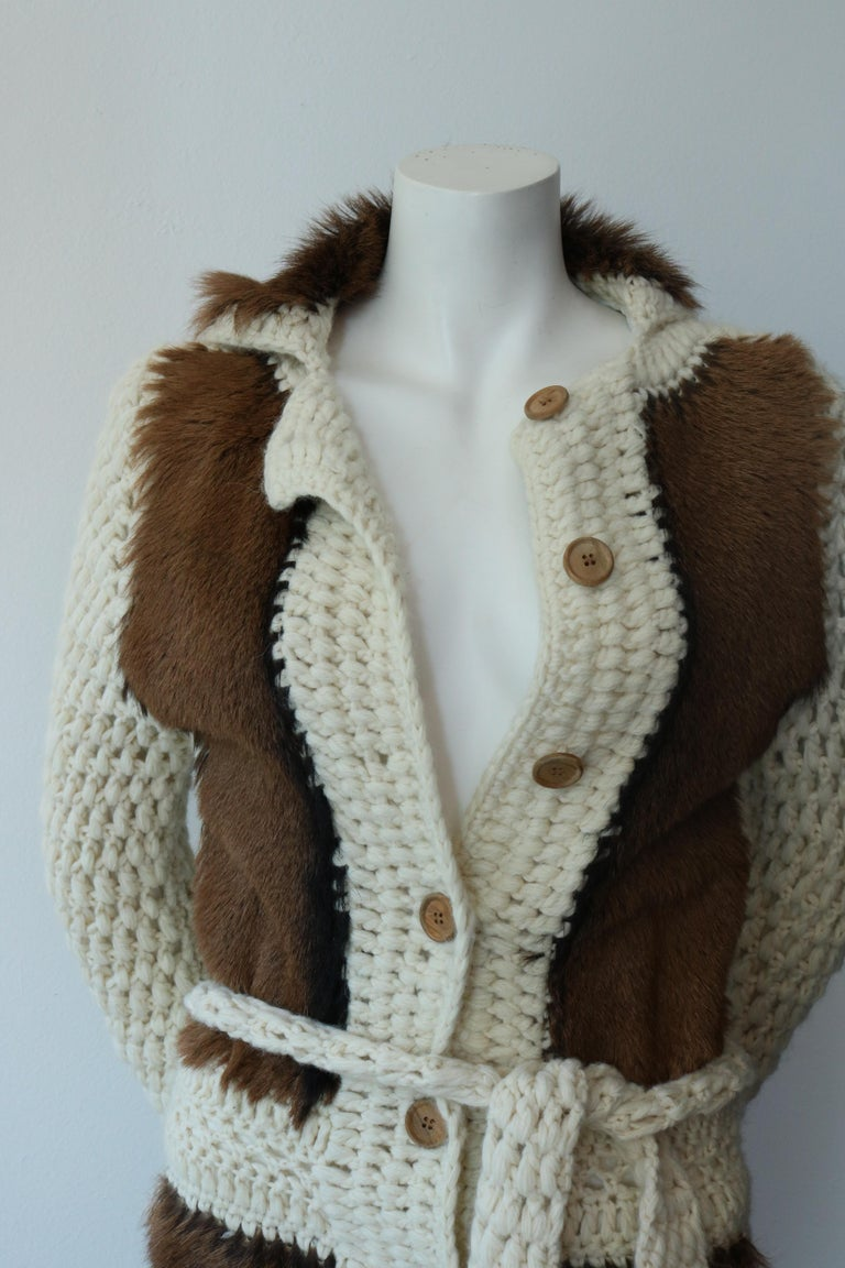 Designer: Christian Dior  Style: Vintage Maxi Cardigan with crochet and fur combination  So cool - 80/90s era  Belt and wood buttons are the ultimate detail  Size 10 (first small 10)