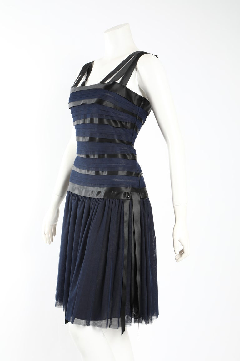 Black Chanel Runway Ribbon Cocktail Dress  For Sale