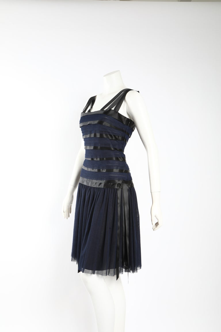 Chanel Runway Ribbon Cocktail Dress  In Excellent Condition For Sale In Los Angeles, CA