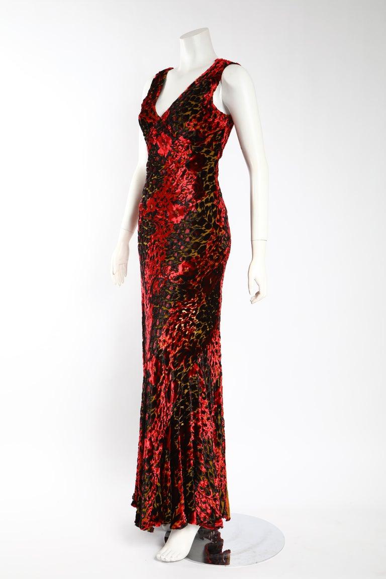Black Etro Velvet Red Floral Gown  For Sale