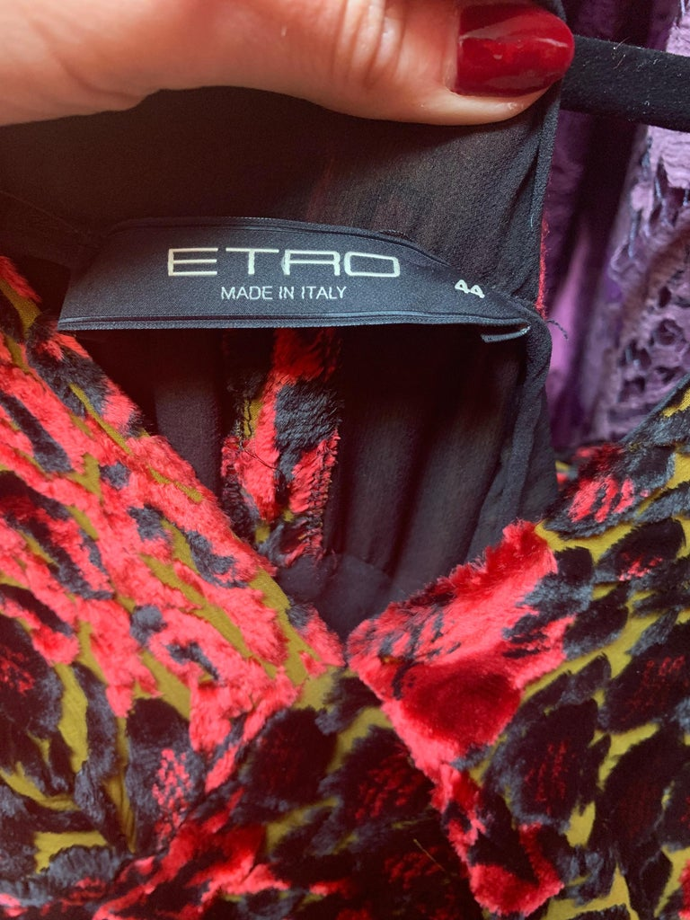 Etro Velvet Red Floral Gown  For Sale 1