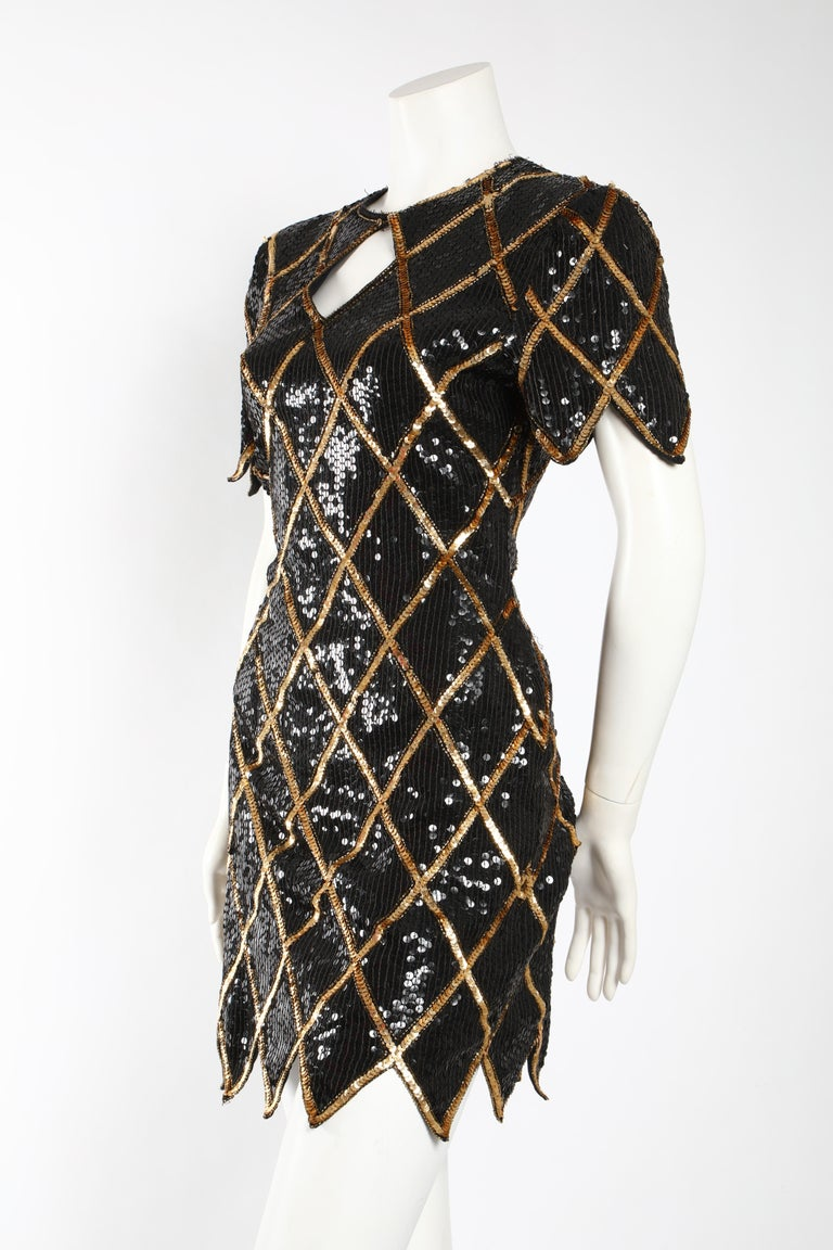 Black Vintage 1980 La Scala Sequin Dress  For Sale