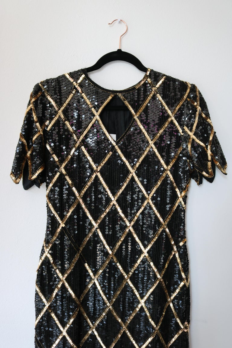 Women's Vintage 1980 La Scala Sequin Dress  For Sale