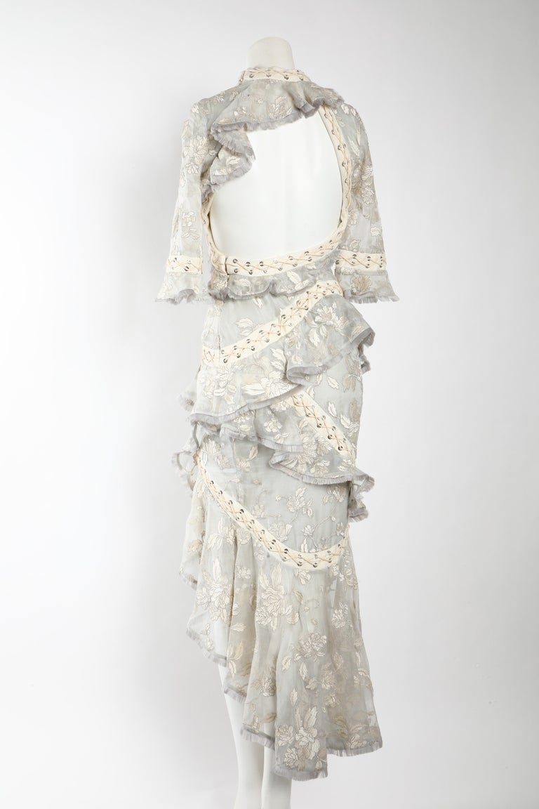 Gray Zimmermann Eyelet Trimmed Gown  For Sale