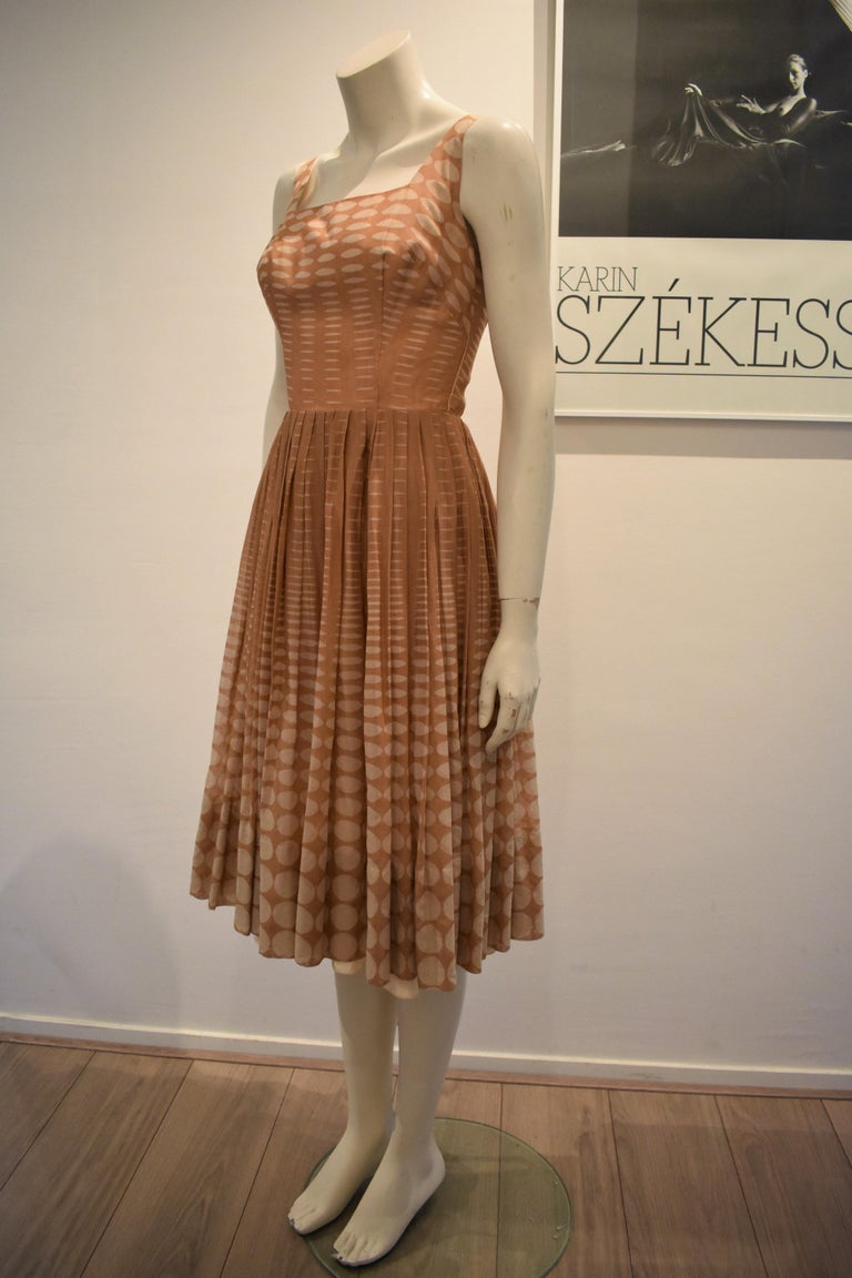 Brown Vintage 1950s Batiste Handmade Dress with a Flowy Pleated Skirt For Sale