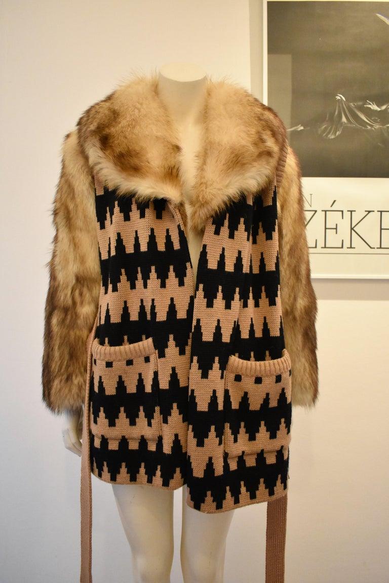 Women's Vintage Lanvin Fur and Knitted Coat with Fox Sleeves and Collar, Mink Lining For Sale