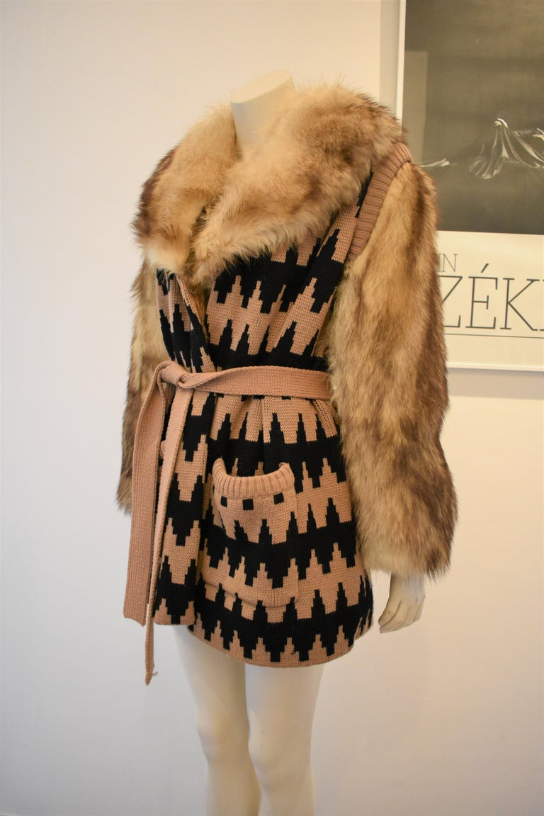 Brown Vintage Lanvin Fur and Knitted Coat with Fox Sleeves and Collar, Mink Lining For Sale