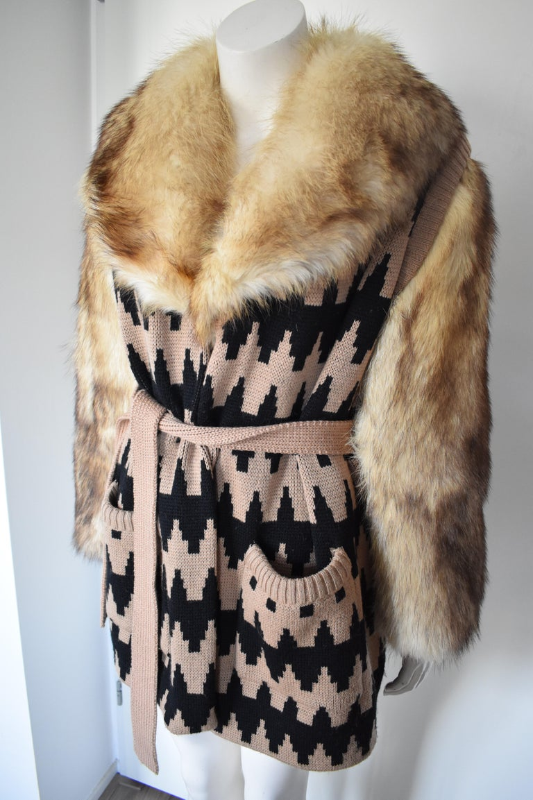 Vintage Lanvin Fur and Knitted Coat with Fox Sleeves and Collar, Mink Lining For Sale 2