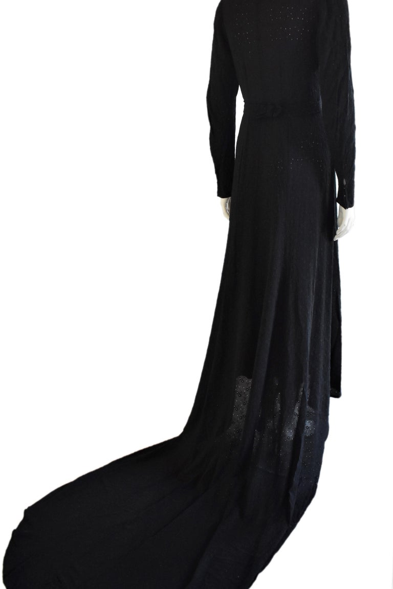 Women's Vintage Embroidered Hand-Made 1940's Black Gown with Long Train For Sale