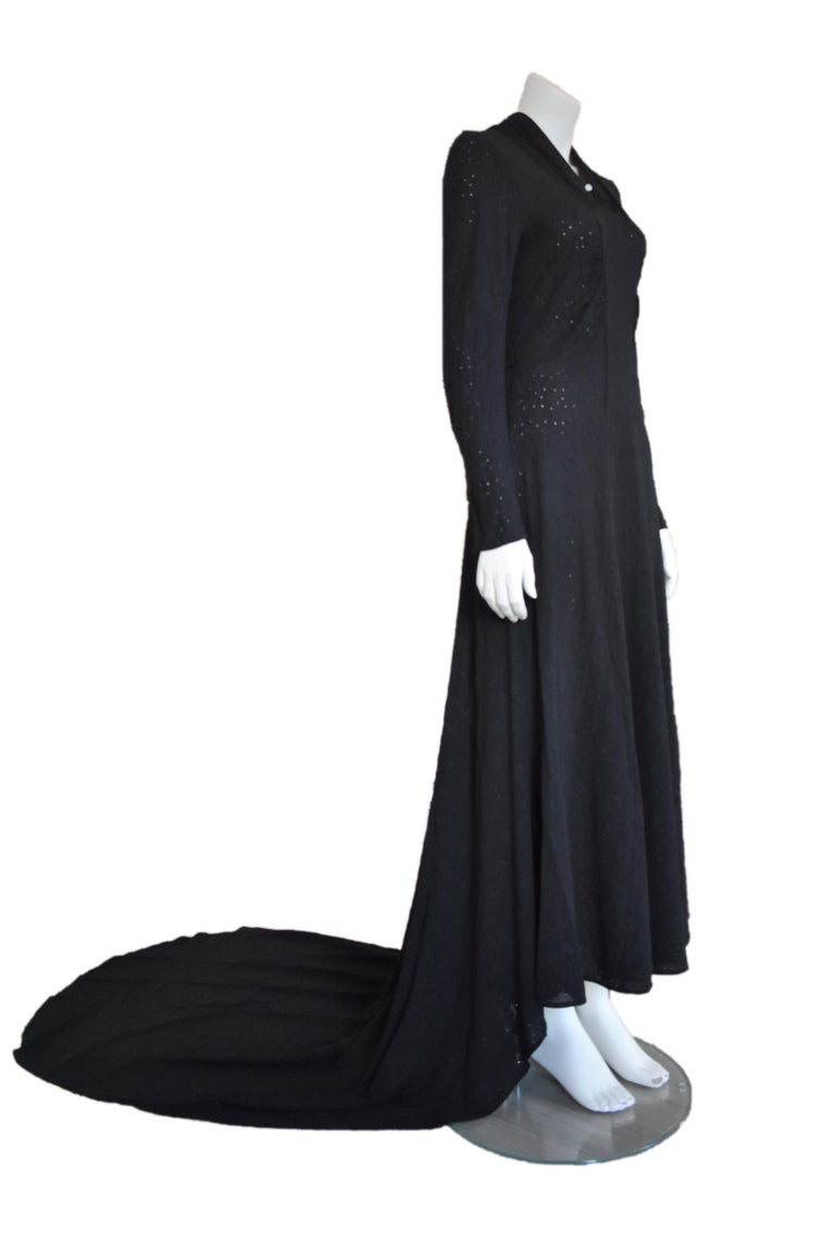 Vintage Embroidered Hand-Made 1940's Black Gown with Long Train In Good Condition For Sale In Amsterdam, NL