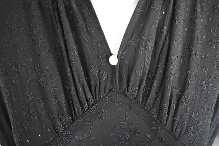 Vintage Embroidered Hand-Made 1940's Black Gown with Long Train For Sale 5