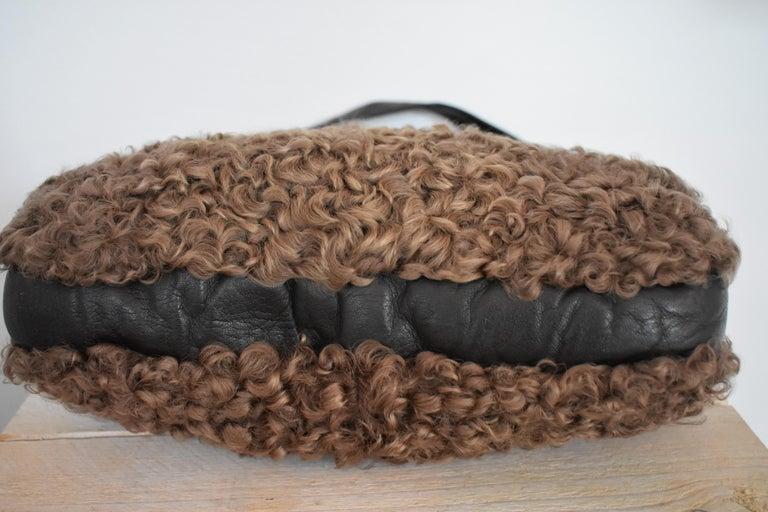 10fe6c1b57 Vintage Astrakhan Lamb Fur and Leather Muff Bag For Sale at 1stdibs