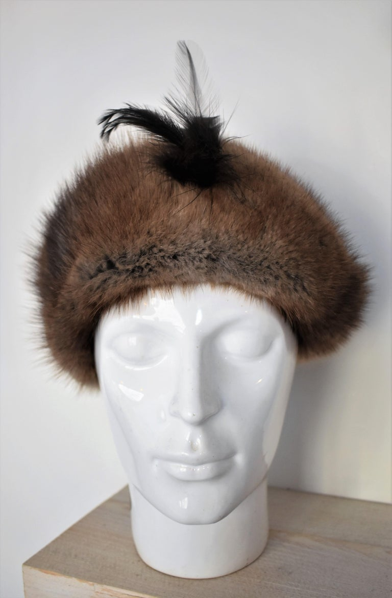 Gray Vintage 1960s Fur Hat with Feather  For Sale
