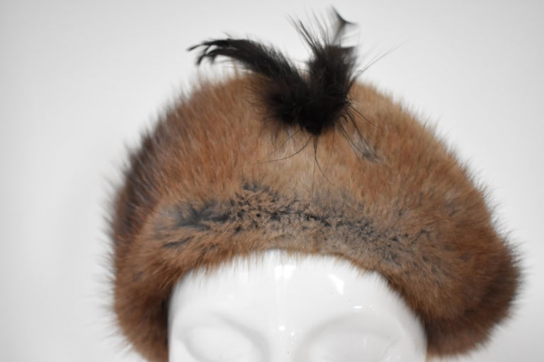 Vintage 1960s Fur Hat with Feather  For Sale 1