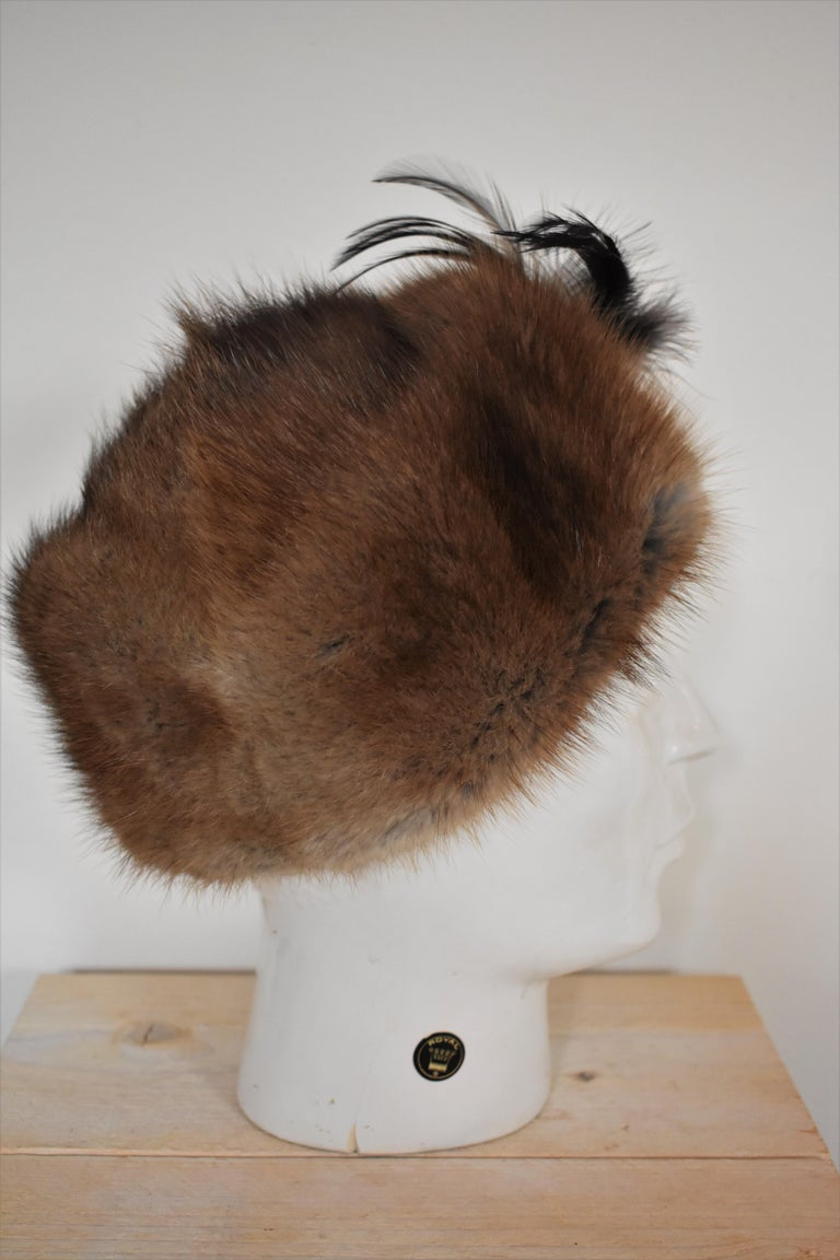 Women's Vintage 1960s Fur Hat with Feather  For Sale