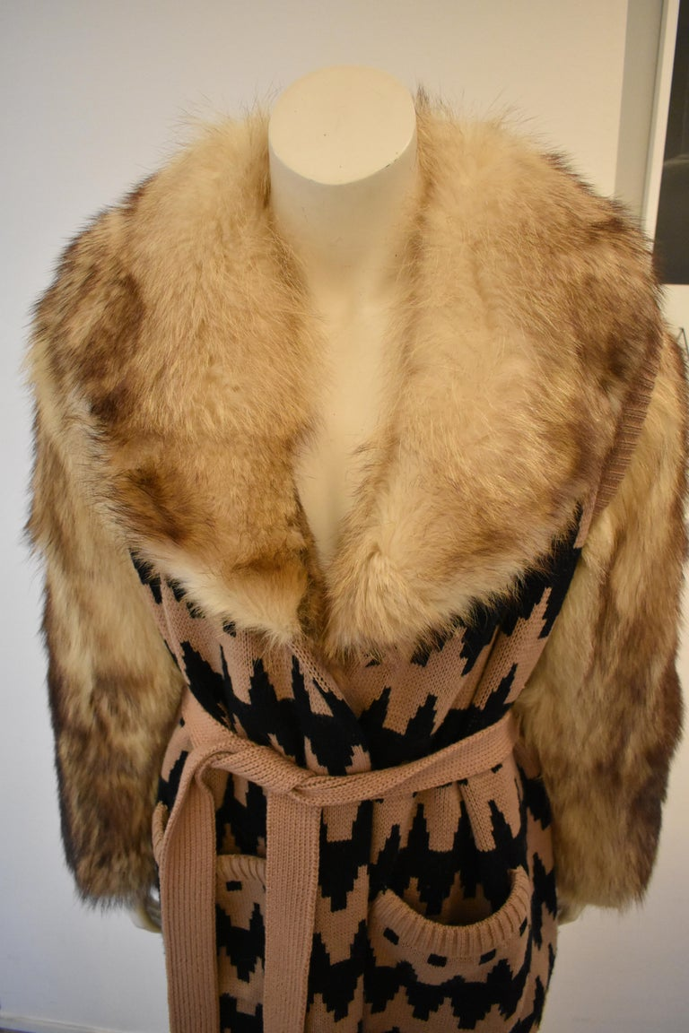 Vintage Lanvin Fur and Knitted Coat with Fox Sleeves and Collar, Mink Lining For Sale 1