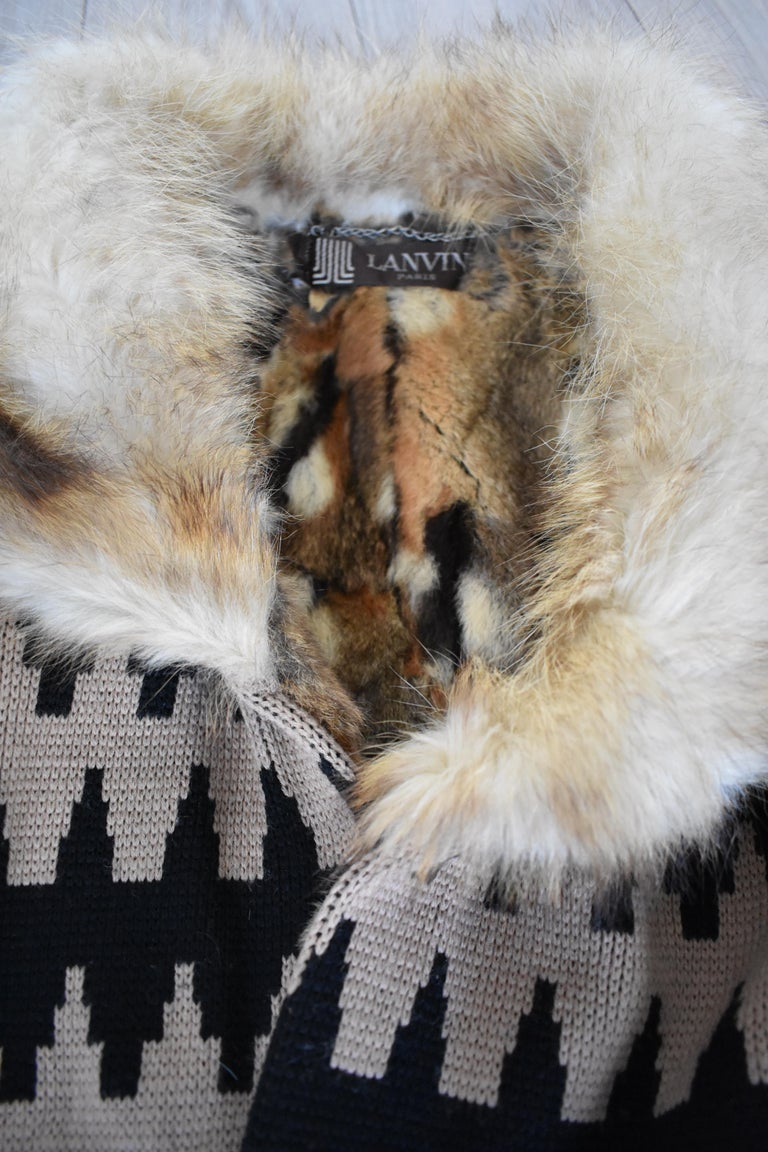 Vintage Lanvin Fur and Knitted Coat with Fox Sleeves and Collar, Mink Lining For Sale 5