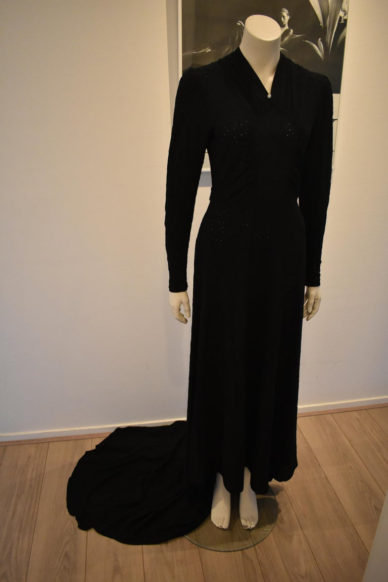 Vintage Embroidered Hand-Made 1940's Black Gown with Long Train For Sale 1