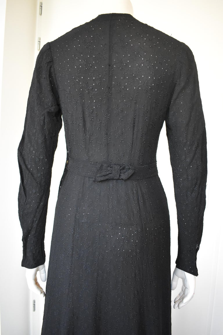 Vintage Embroidered Hand-Made 1940's Black Gown with Long Train For Sale 6