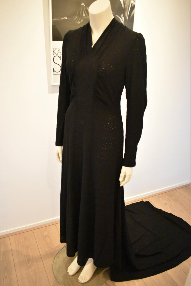 Vintage Embroidered Hand-Made 1940's Black Gown with Long Train For Sale 2
