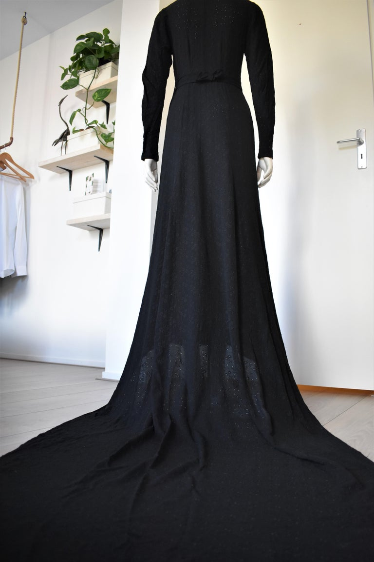 Vintage Embroidered Hand-Made 1940's Black Gown with Long Train For Sale 3