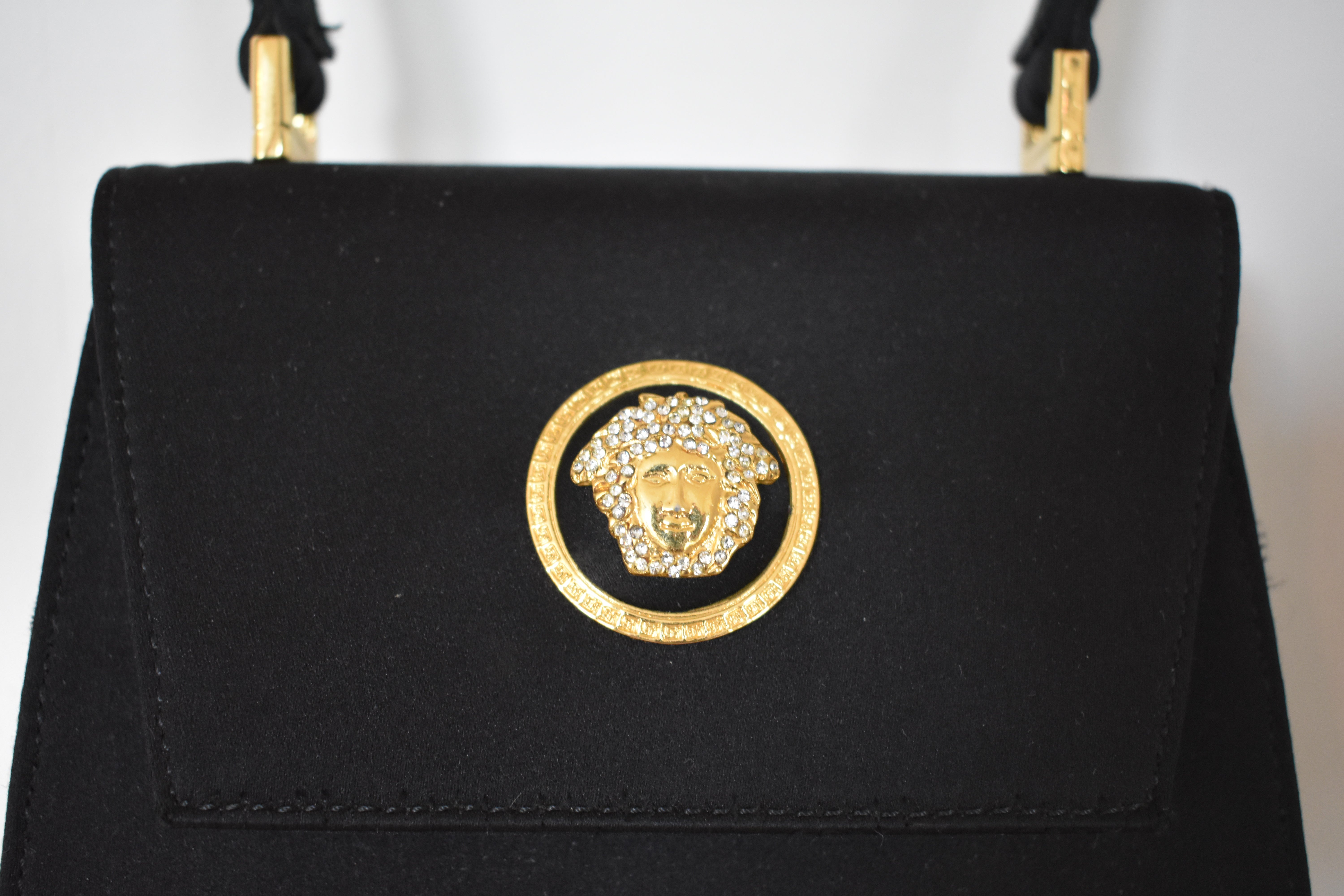 cac9f7794691 Gianni Versace Couture Mini Satin Evening Bag with Medusa Head For Sale at  1stdibs