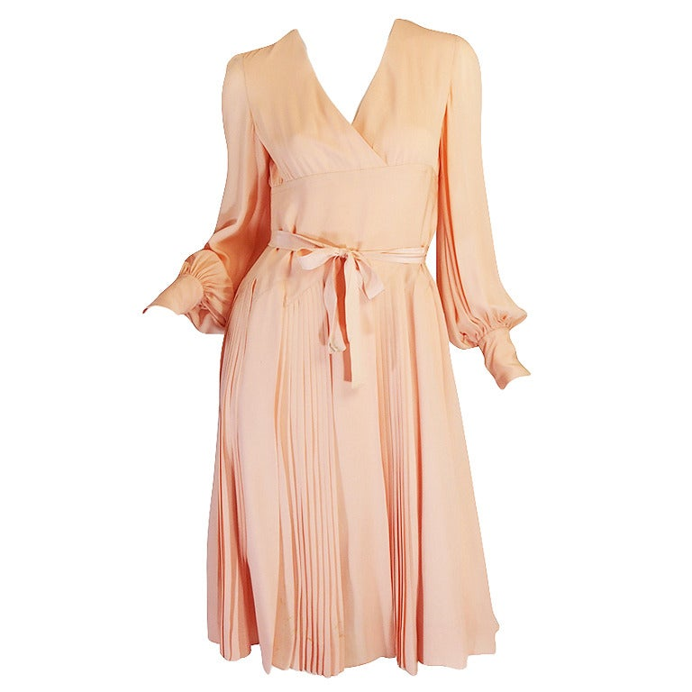 a w 1973 christian dior haute couture silk day dress at