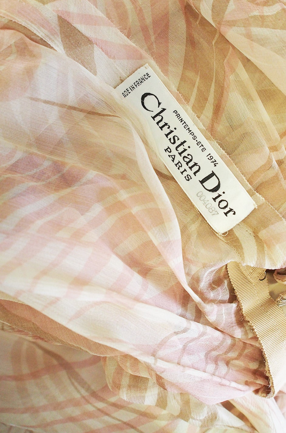 S/S 1974 Christian Dior Haute Couture Silk Gown For Sale 5