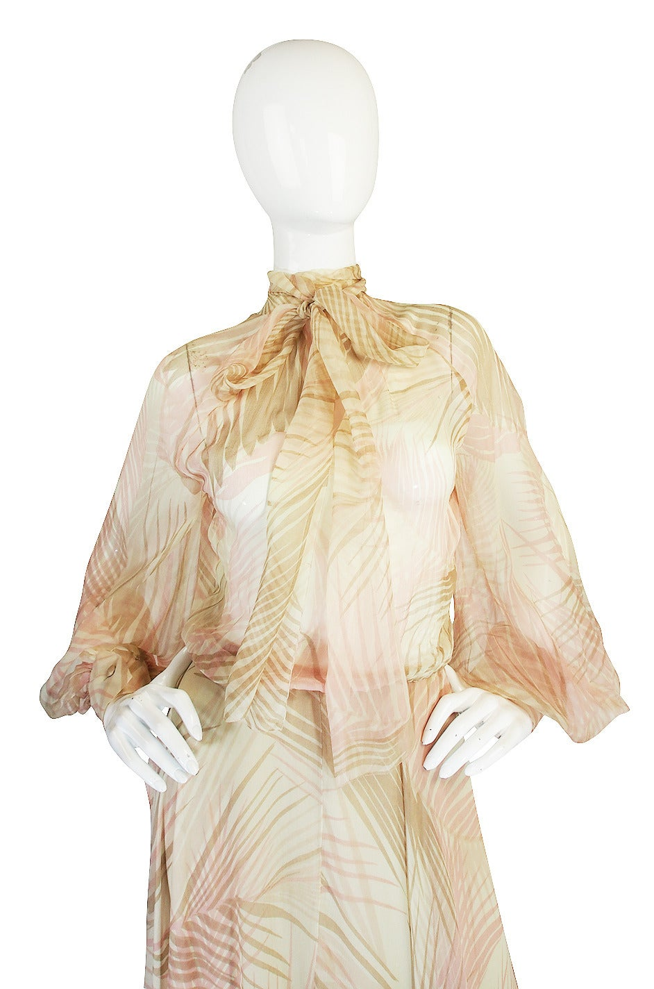 S/S 1974 Christian Dior Haute Couture Silk Gown For Sale 1