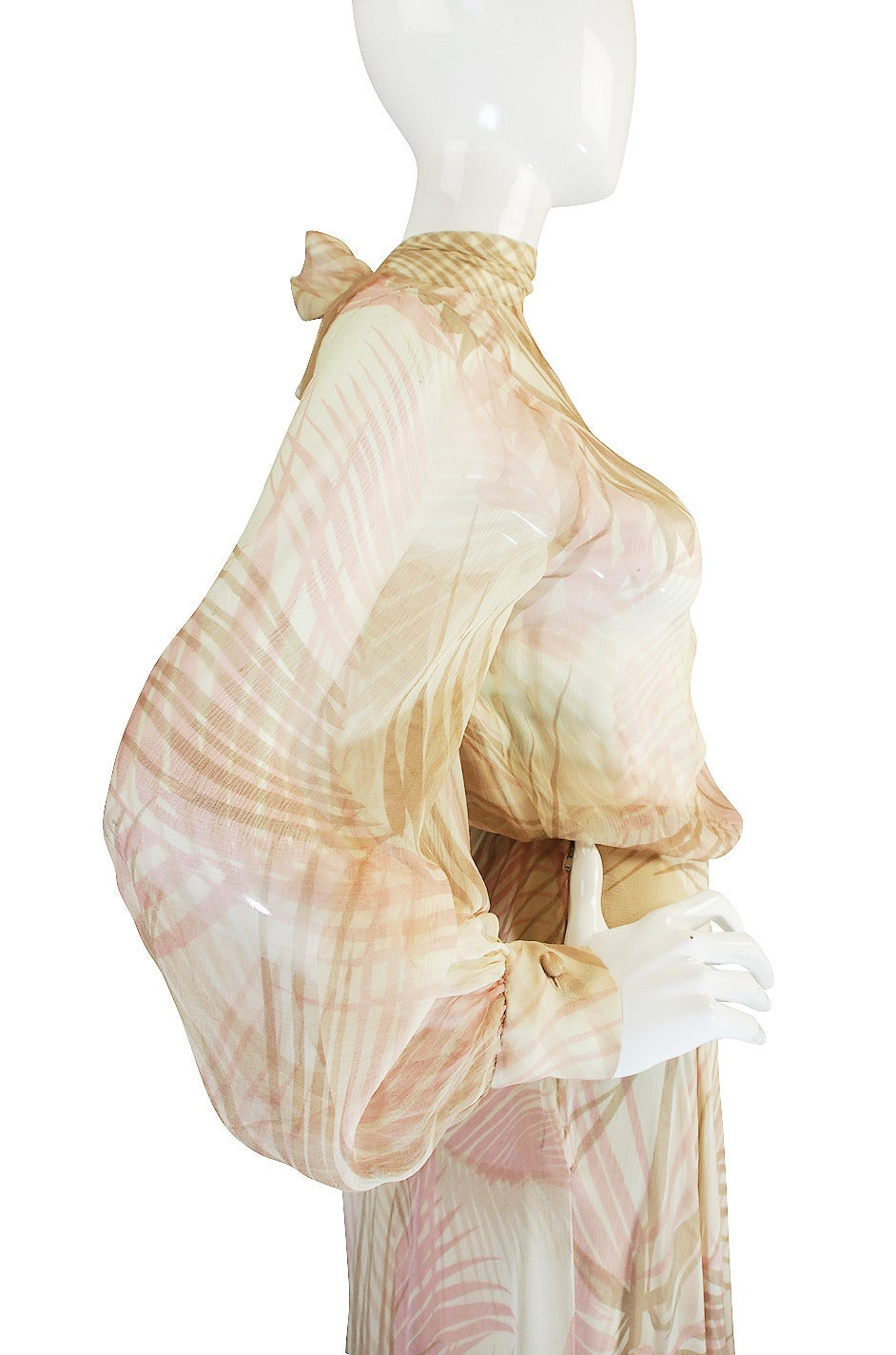 S/S 1974 Christian Dior Haute Couture Silk Gown For Sale 3