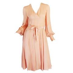 A/W 1973 Christian Dior Haute Couture Peach Pink Silk Dress