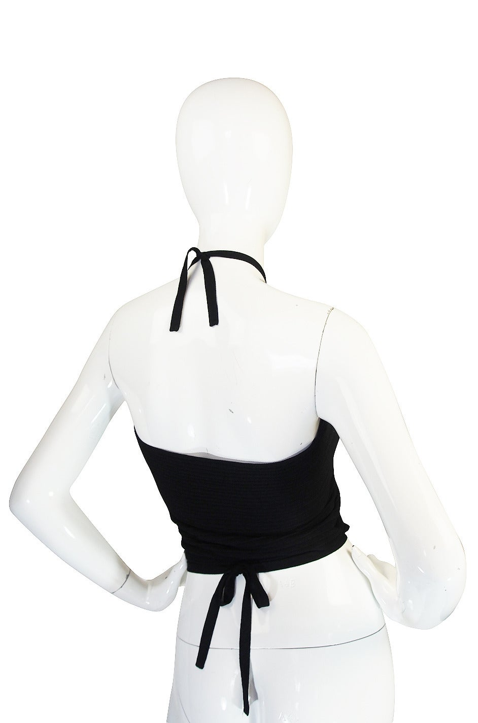 circa 1996 Tom Ford for Gucci Black Halter Knit Top 2