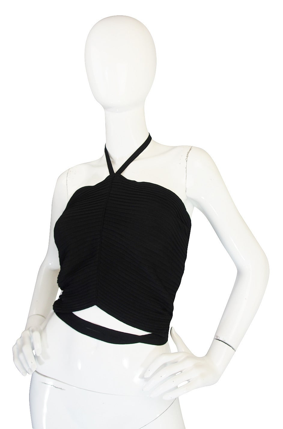 circa 1996 Tom Ford for Gucci Black Halter Knit Top 3