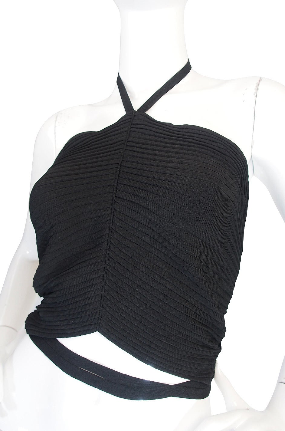 circa 1996 Tom Ford for Gucci Black Halter Knit Top 4