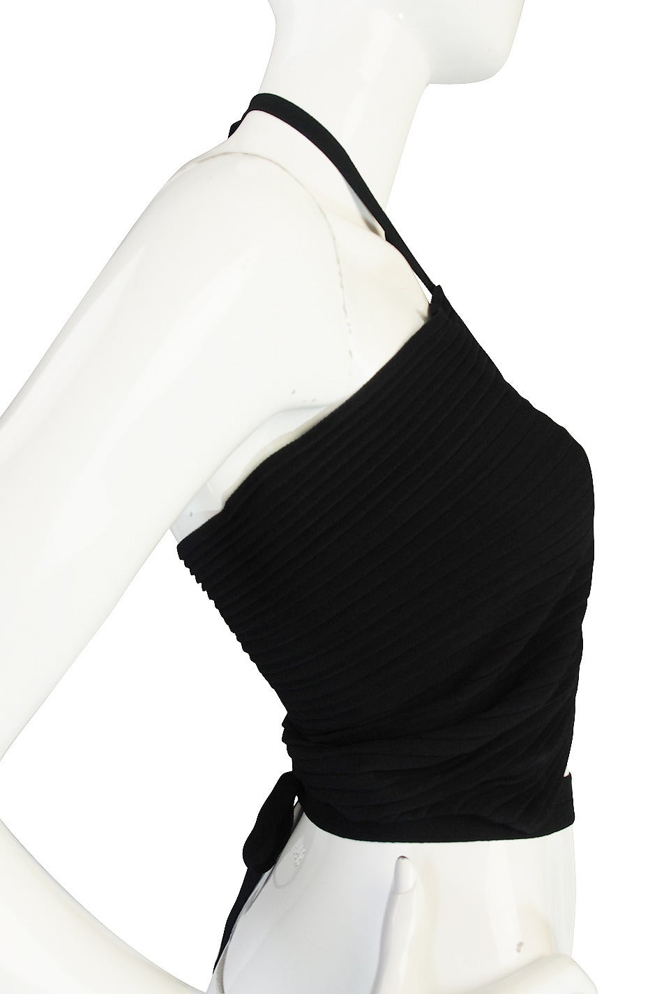 circa 1996 Tom Ford for Gucci Black Halter Knit Top 5